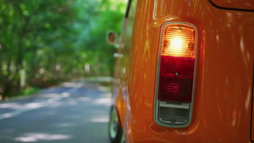 The orange light signal before start driving a van.