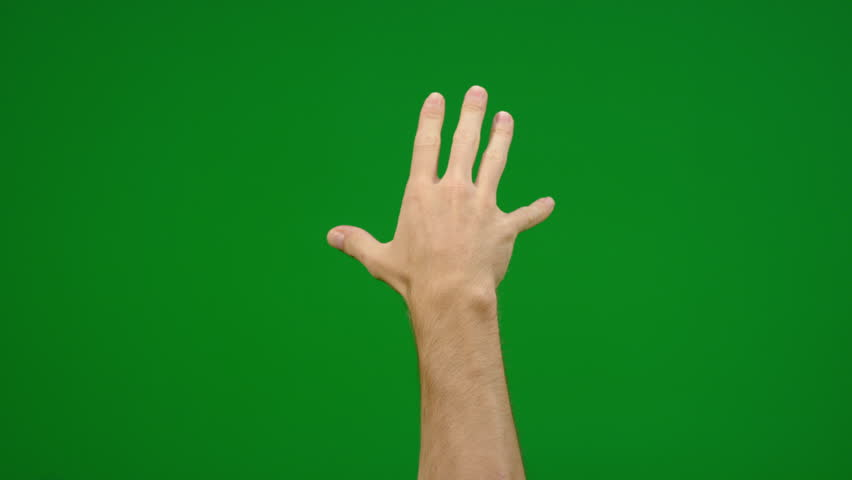 Set of 8 different full hand grab gestures fast and slow on greenscreen shot on R3D in 4k