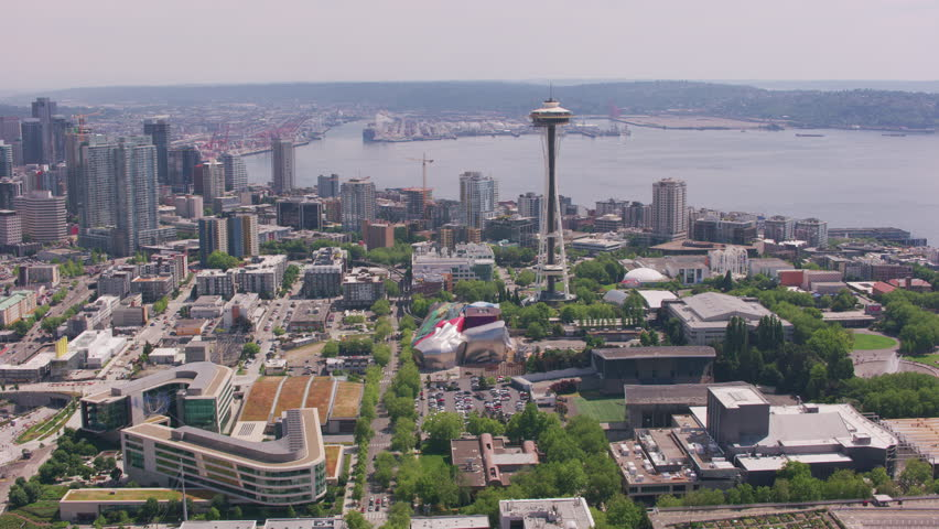 Seattle, Washington circa-2018. Aerial view of downtown Seattle, Washington. Shot from helicopter with Cineflex gimbal and RED Epic-W camera.