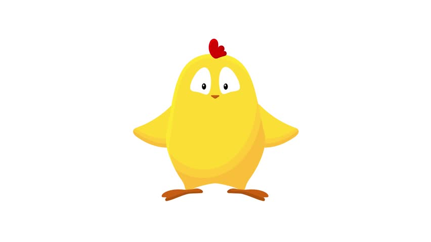 Cute little yellow chicken seamless cartoon animation. Easter chick stands and waves his wings trying to fly