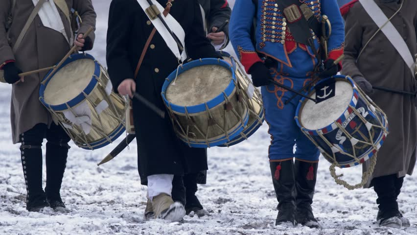 Soldiers playing war drums in Napoleonic wars Royalty-Free Stock Footage #1022651200
