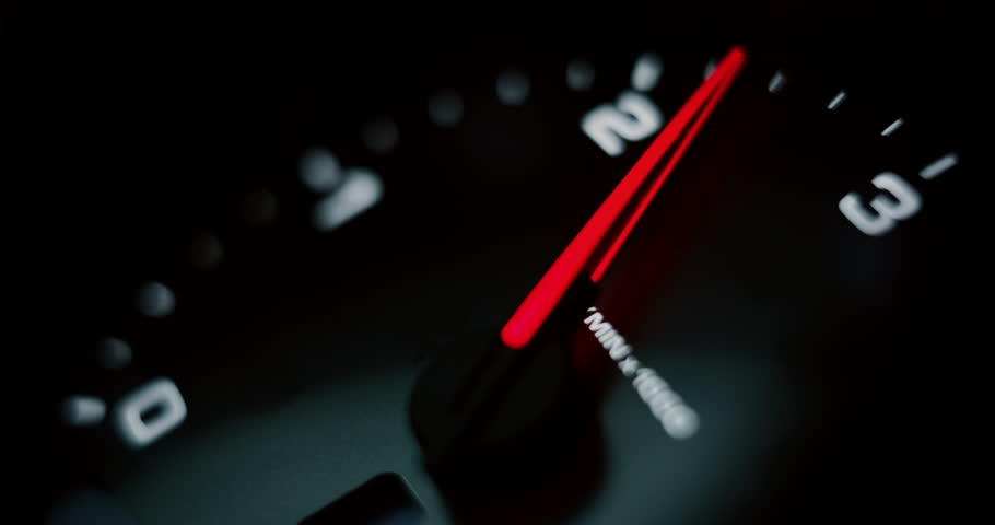 Close up of speedometer scoring high speed of anonymous prestigious luxury modern car. Shot in 8K. Concept of passion for driving cars and engines, car race, sport cars,luxury cars, auto dial