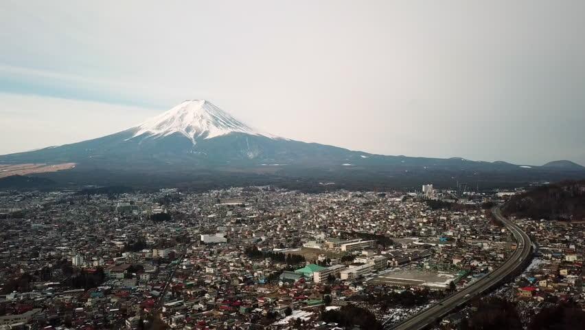 Aerial view of Fuji Mountain,Kawaguchiko,Fujiyoshida,Japan  | Shutterstock HD Video #1022659207