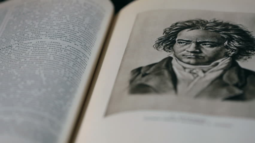 Ludwig van Beethoven German composer and pianist, portrait in the page of the Great  Encyclopedia circa 1952
