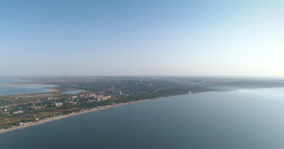 Aerial view of seaside and suburban district of beautiful Odessa city Ukraine