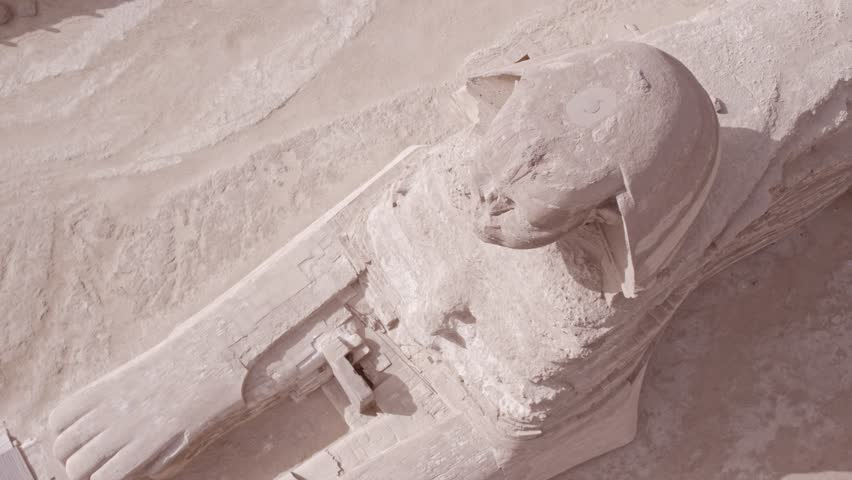 Top shot Shot Drone for The Sphinx then reavels Menkaure Pyramid and Khafre Pyramid in Giza at day