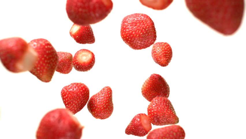 Strawberries Flying Falling in the Air Tabletop Shot on High Speed Phantom Camera #1022696134