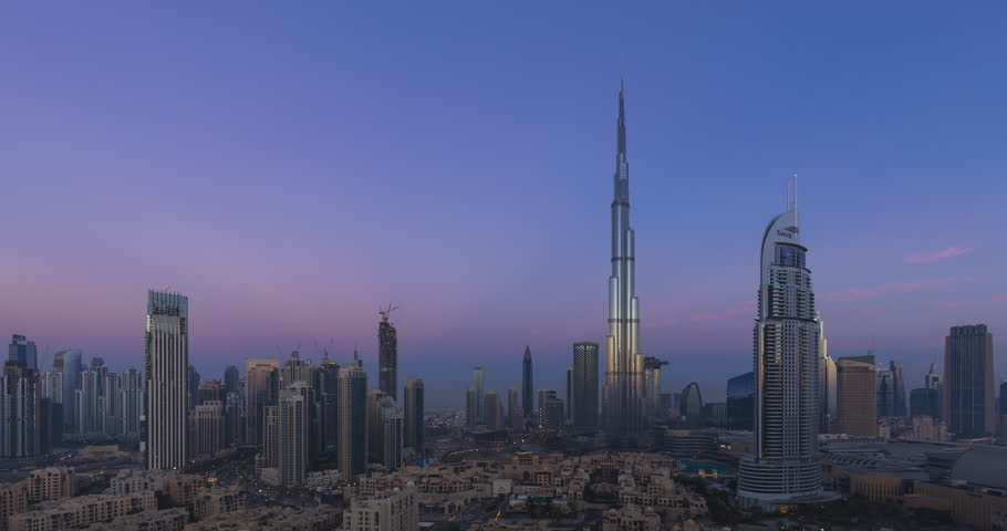 4K Timelapse - City Skyline and cityscape at sunrise in Dubai. UAE