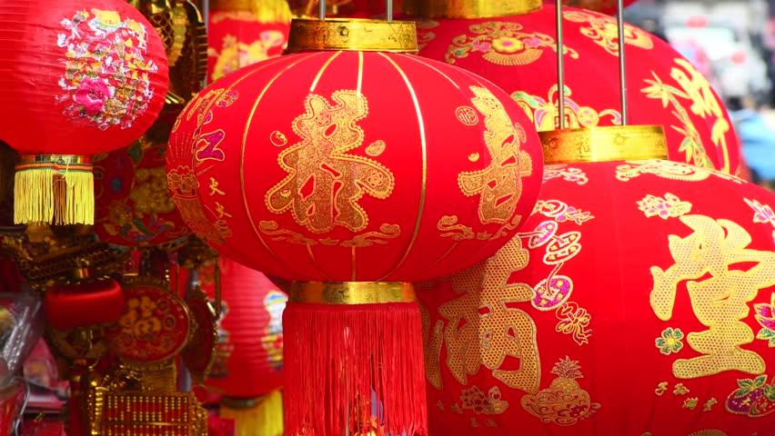 """Various of charms decolation selling at China town in before Chinese New Year day. Chinese on Lanterns mean """"Good Luck, Healthy and Get Rich"""" 