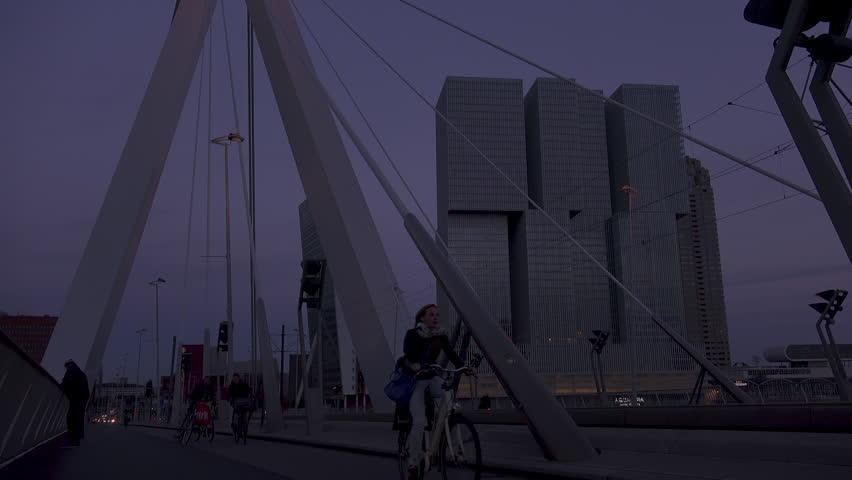 Rotterdam,the Netherlands, circa 2018:the skyline of Rotterdam, with the Erasmus bridge in the night | Shutterstock HD Video #1022760676