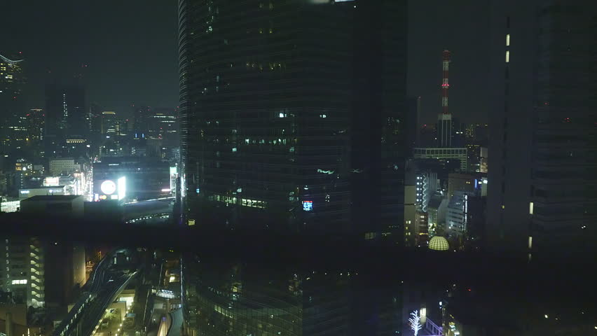 Tokyo night view from elevator going up shot 1 | Shutterstock HD Video #1022780152