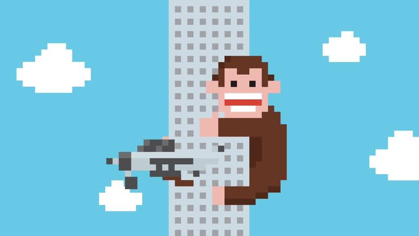 Funny Cartoon Gorilla Climbing on Skyscraper Building. 4K Pixel Art Retro Game Style Animation.
