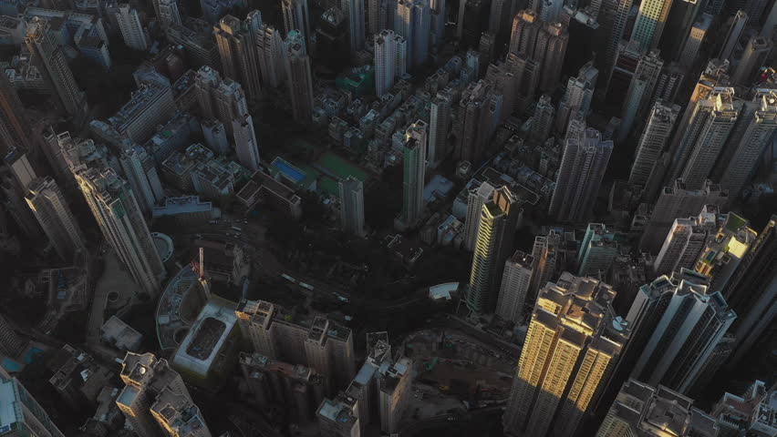 Fly above Urban city scene around residential area in sunset, Hong Kong , 4k high resolution video | Shutterstock HD Video #1022782390