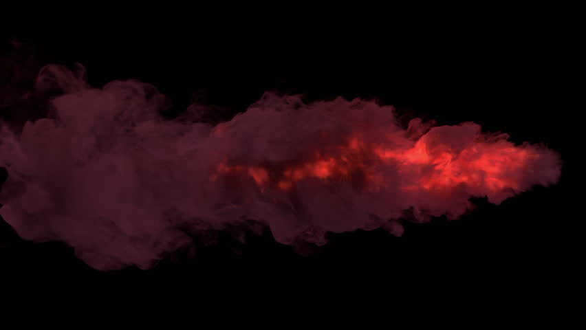 Colored torch fire and smoke / Smoke lit from inside by fire. Separated on pure black background, contains alpha channel.