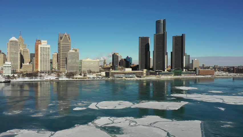 Detroit River Aerial Waterfront Winter