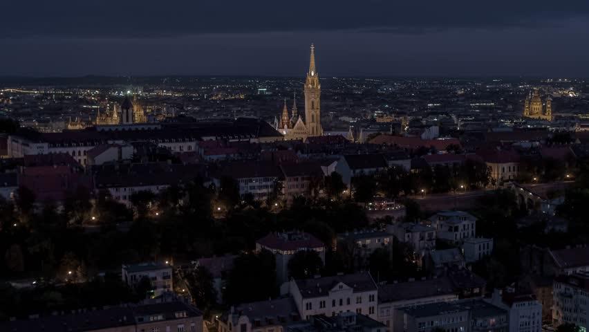 Establishing Aerial View of Budapest, Hungarian Parliament, Fisherman Bastion at night, Hungary   Shutterstock HD Video #1022827177