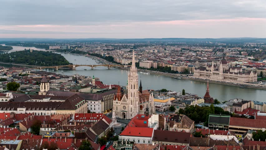 Establishing Aerial View of Budapest, Fisherman's Bastion, Hungarian Parliament, Hungary | Shutterstock HD Video #1022827345