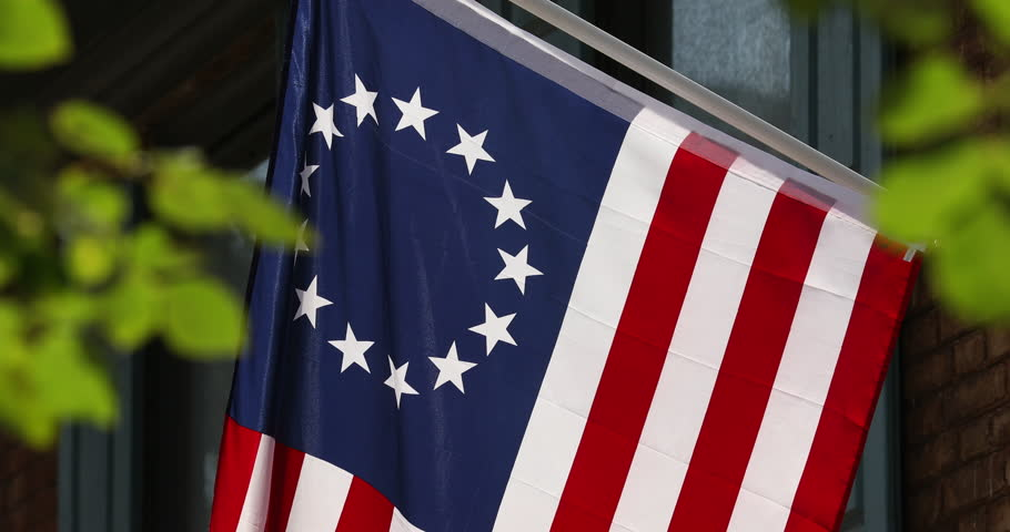 Betsy Ross created American colonial flag flies in historic Philadelphia Pennsylvania USA
