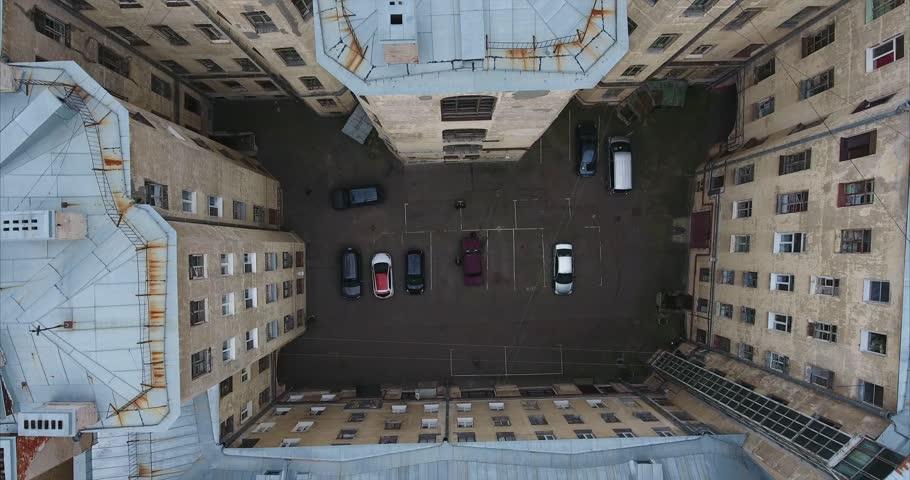 Aerial survey: St. Petersburg. Russia. Yards-wells. Top view of the streets of St. Petersburg. Aerial shot of the old houses of St. Petersburg