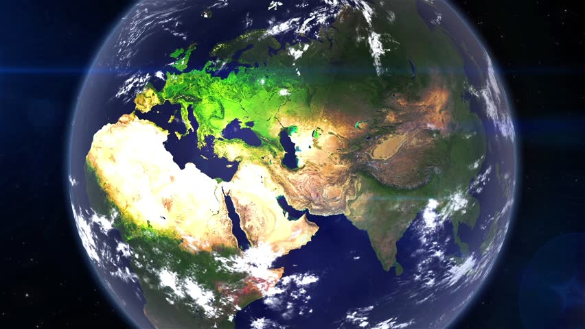 Realistic Earth Zoom In From Space To The Middle Asia With Moving