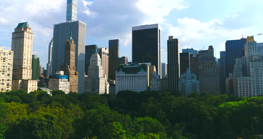 Manhattan skyline with Central park in New York city Aerial