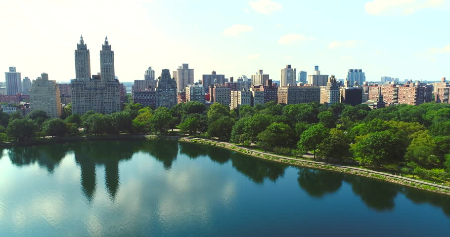 Upper west side Manhattan skyline with Central park in New York city Aerial | Shutterstock HD Video #1022886817