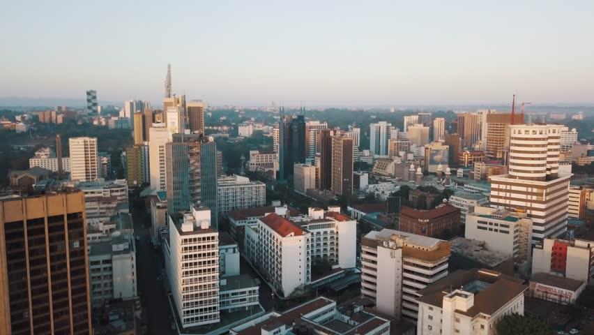 Nairobi Kenya East Africa sunrise cityscape urban landscape drone footage