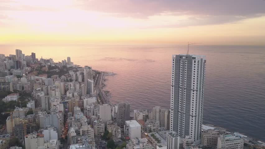 Flying over Beirut bay marina and downtown. Drone aerial shot of Beirut, Lebanon, during sunset. | Shutterstock HD Video #1022918758