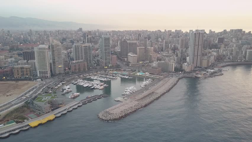 Flying over Beirut bay marina and downtown. Drone aerial shot of Beirut, Lebanon, during sunset. | Shutterstock HD Video #1022918788