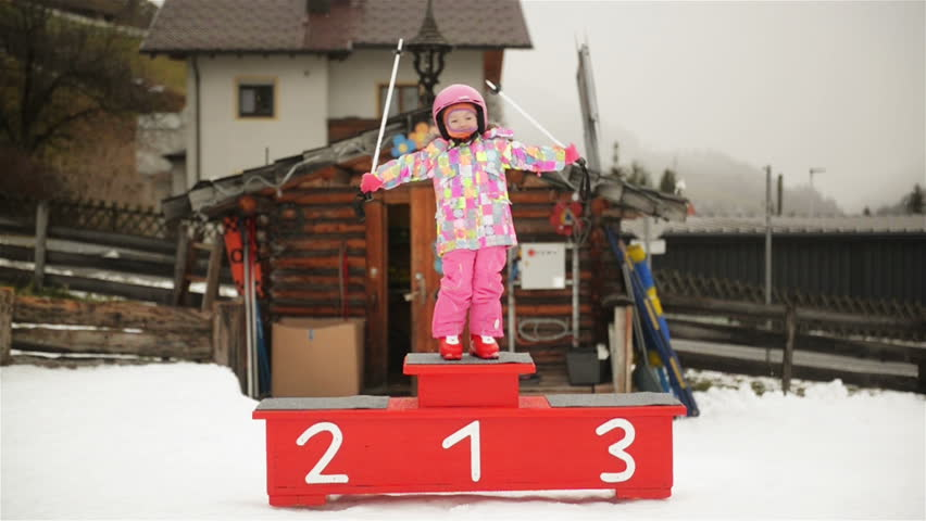 Portrait Of Young Preschool Girl. She Stand On Podium And Posing. Royalty-Free Stock Footage #1022921596