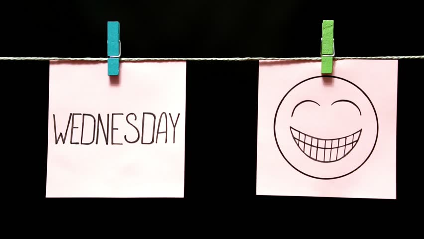 Two multicolored stickers. Emotion. On left a sheet inscription Wednesday. On the white a sheet an expression of festive mood. | Shutterstock HD Video #1022936245