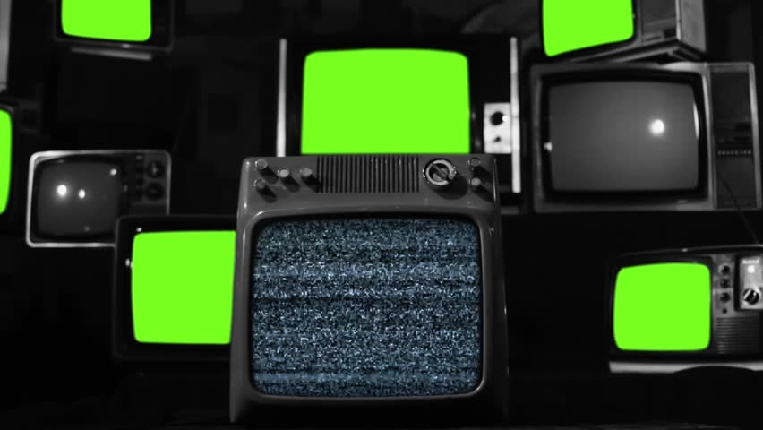 Malfunction Old Tvs with Green Screen. Black and White Tone. Zoom In.  | Shutterstock HD Video #1022959885