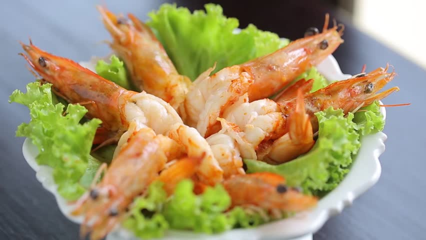 Tasty fresh Grilled shrimps with Thai seafood sauce.  | Shutterstock HD Video #1022982547