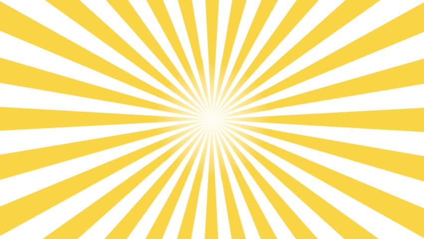 Yellow and white sunburst circle and background pattern animation. Back Pop Art Style yellow background motion video 4K