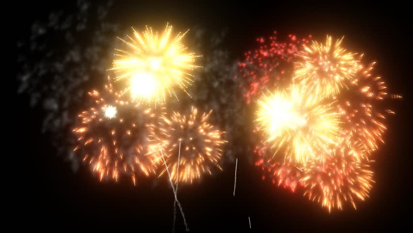 Red Gold fireworks background for holidays like New Year, Christmas or business presentation. Beautiful firecrackers show isolated on black, ready for compositing. 3d animation pyrotechnic light V46 | Shutterstock HD Video #1023004273