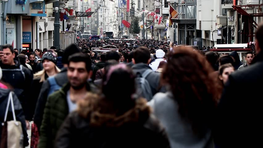 Timelapse crowds street life. Background people Turkey istanbul. #1023006946