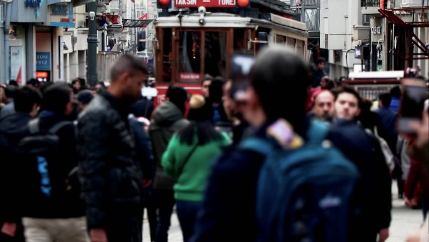 istanbul walking blurred people groups . Crowd Istanbul Istiklal street. Non editorial news video, documentary video background. Tourist crowd running people walking Royalty-Free Stock Footage #1023008131