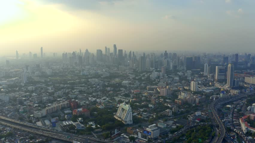 Panorama of Bangkok central business downtown. Beautiful aerial view of big city life.   Shutterstock HD Video #1023040981