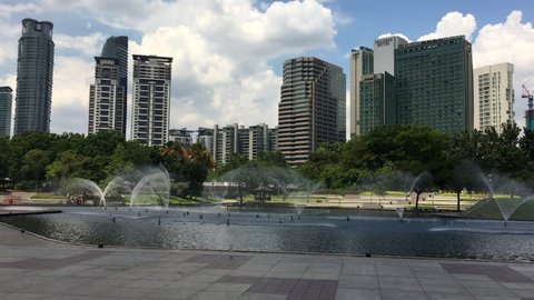 Twin towers, KLCC, Kuala Lampur, Malaysia - 1st August 2016: Modern architecture of Malaysian iconic Petronas twin towers and bridge.
