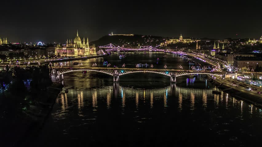 Establishing Aerial View of Budapest, River Danube and Bridges at night, Hungary | Shutterstock HD Video #1023049087