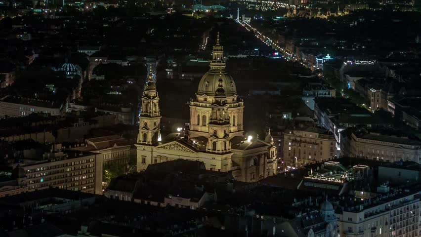Aerial View of Budapest, St. Stephen's Basilica at night, Hungary   Shutterstock HD Video #1023050638