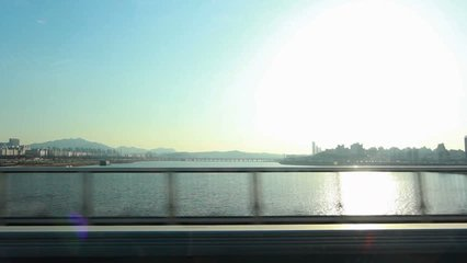 Moving scenery seen through the windows of a vehicle at Seoul, South Korea