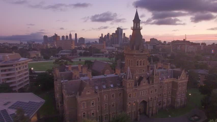 University of Melbourne- Ormond College & City Skyline Royalty-Free Stock Footage #1023071326