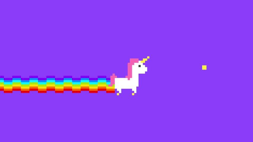 Pixel Art Unicorn Game. 4K Retro Game Style Fantasy Animation Background. | Shutterstock HD Video #1023075874