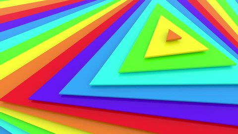 Rainbow colors triangles looped 3d animation, UHD, 4k