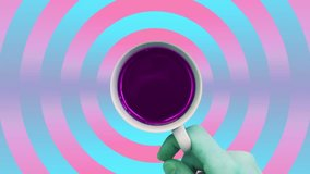 Contemporary motion gif art. Hand holds cup of coffee or tea and spinning.