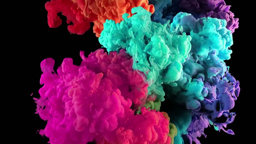 Ink in wate exploding mixing in slow Motion. Shot with high speed camera. Paint splash swirling underwater isolated with alpha. Colorful clouds, abstract color smoke dynamic flow