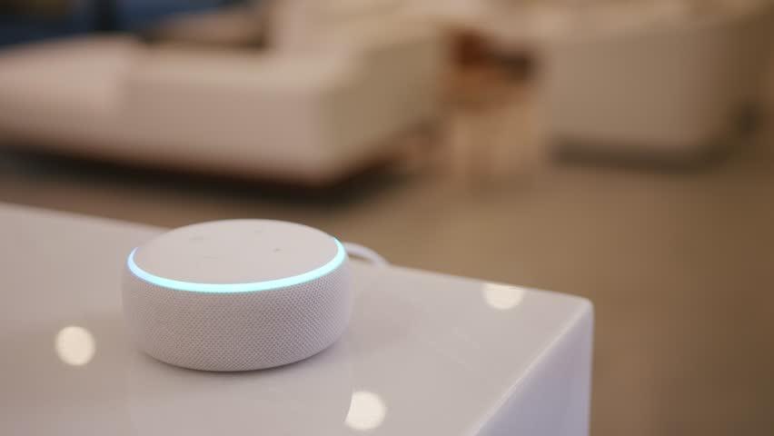 Amazon Echo Alexa on Table in Contemporary Home / Los Angeles, CA, US 90028