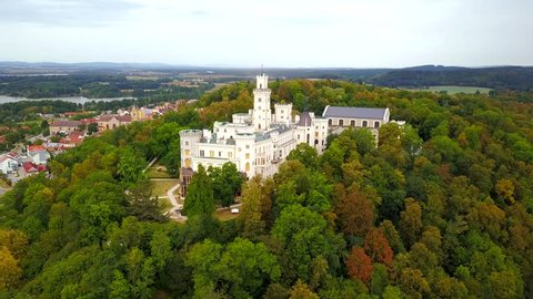 Aerial view of castle in Hluboka nad Vltavou. Castle was founded in 13th century. One of the most beautiful castles in the Czech Republic from drone view.