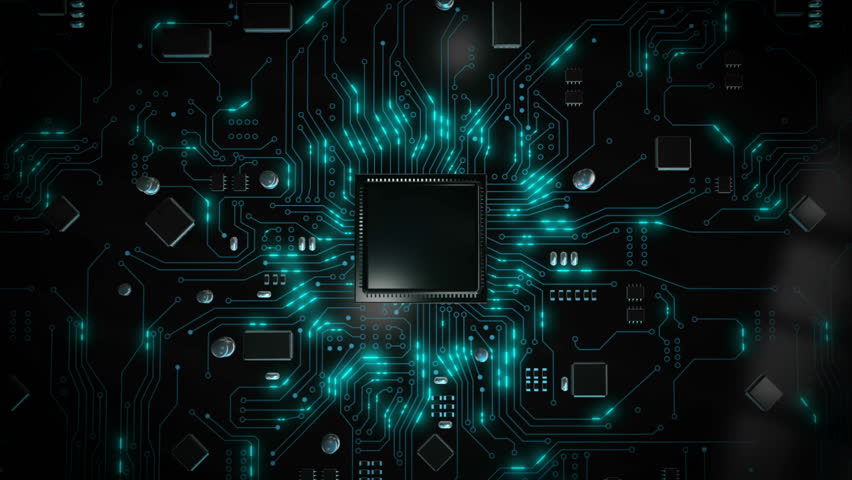 3D render CPU central processor unit chipset on the printed circuit board for electronic and technology concept select focus shallow depth of field Royalty-Free Stock Footage #1023115441